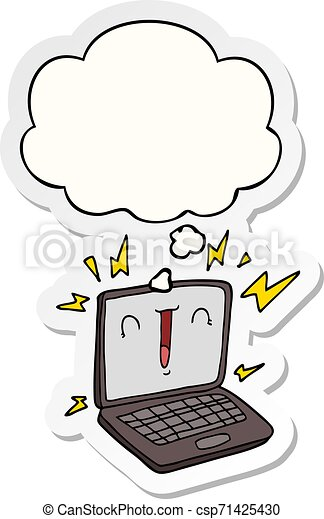cartoon laptop computer and thought bubble as a printed sticker - csp71425430
