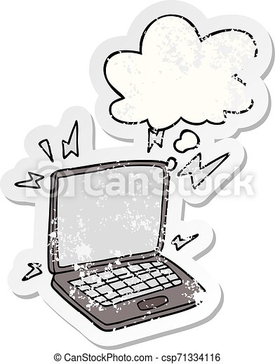 cartoon laptop computer and thought bubble as a distressed worn sticker - csp71334116