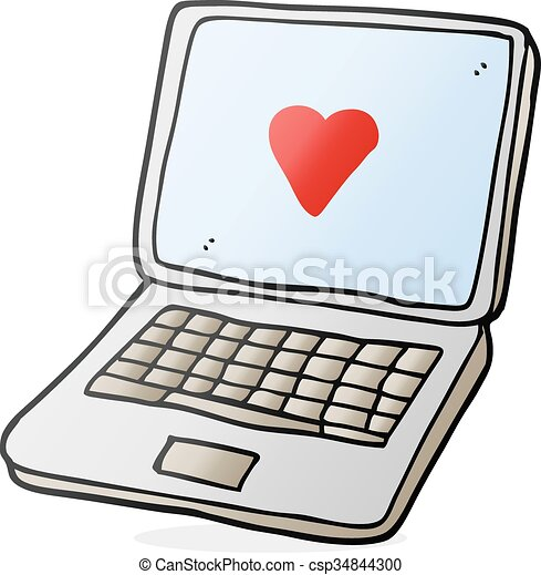 Freehand Drawn Cartoon Laptop Computer With Heart Symbol On