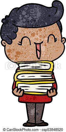 cartoon laughing boy carrying books - csp53848520