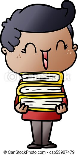 cartoon laughing boy carrying books - csp53927479