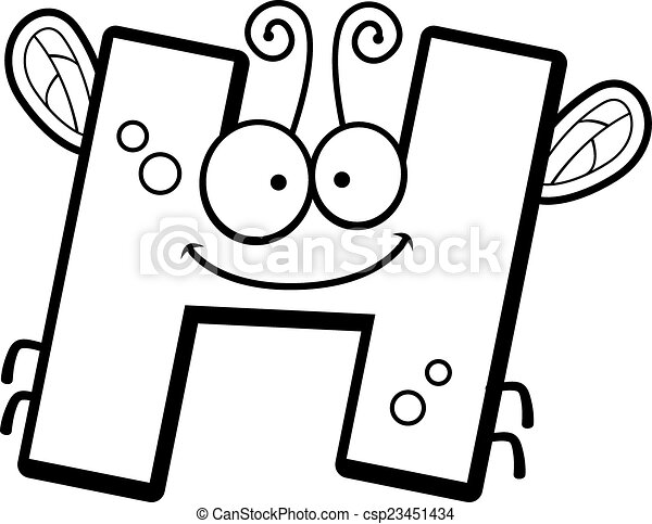 Cartoon Letter H Bug A Cartoon Illustration Of The Letter H With An