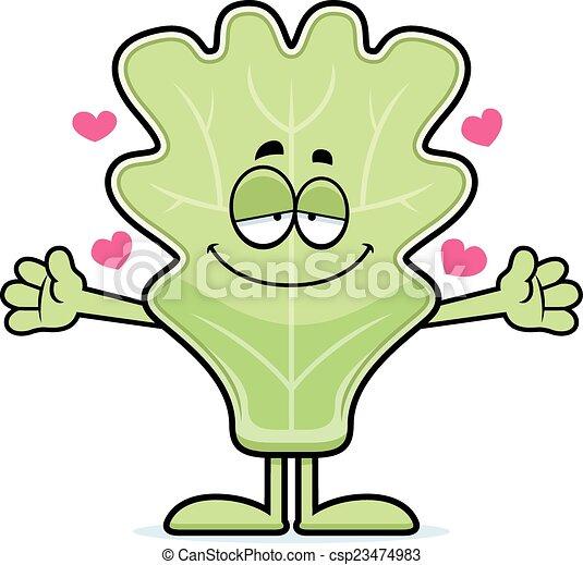 Cartoon Lettuce Leaf Hug - csp23474983