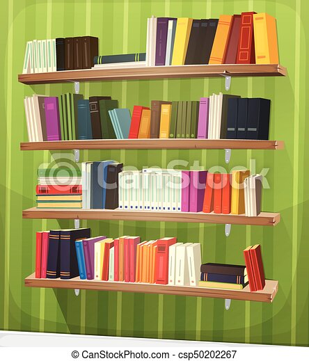 Cartoon Library Bookshelf On The Wall