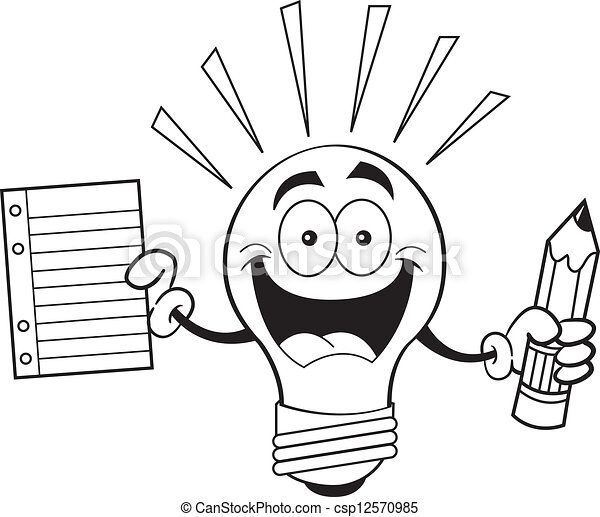 Cartoon Light Bulb Holding A Paper Black And White Illustration Of