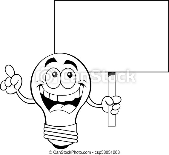 Cartoon Light Bulb Holding A Sign Black And White Illustration Of A