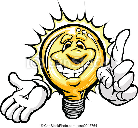 Cartoon Light Bulb with Smiling Face and Hands with Bright Idea or energy savings - csp9243764
