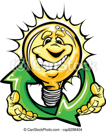 Cartoon Light Bulb with Smiling Face holiding recycling arrows for energy savings - csp9298404