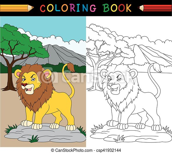 Vector illustration of cartoon lion coloring book eps vector ...