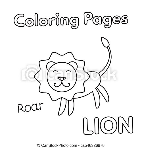 Cartoon lion coloring book. Cartoon lion illustration. coloring book ...