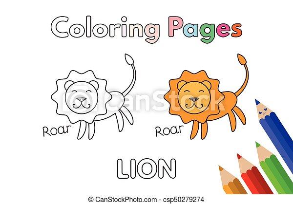 Cartoon Lion Coloring Book
