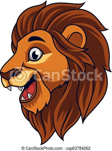 Cartoon lion head smiling - csp63784262