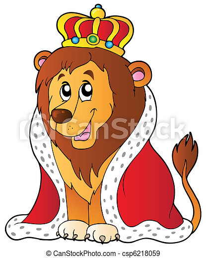 Cartoon lion in king outfit - csp6218059