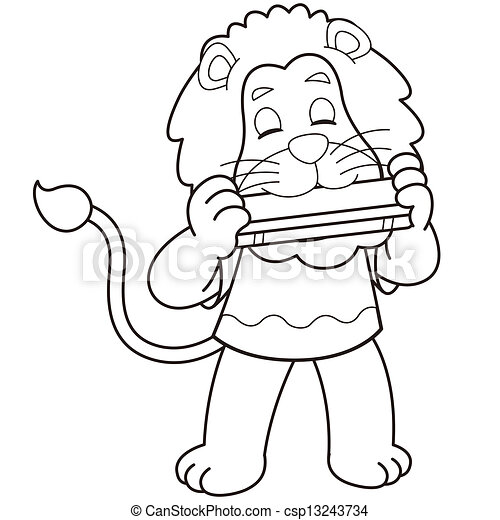 Cartoon Lion Playing A Harmonica Cartoon Lion Playing A Harmonica