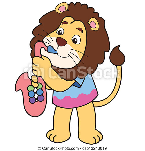 cartoon lion playing a saxophone vector clip art search rh canstockphoto com