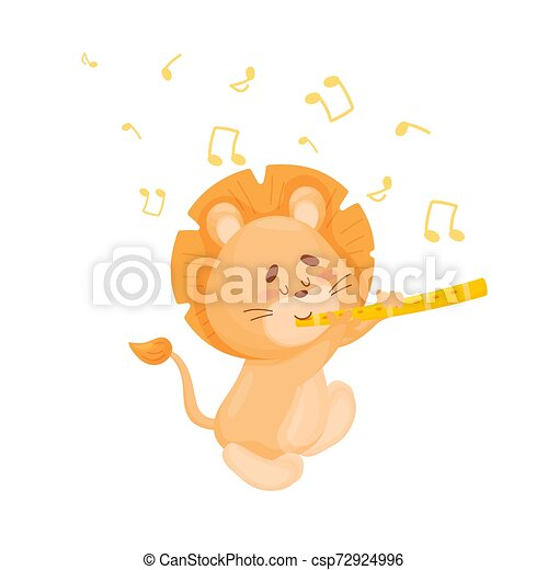 Cartoon lion with flute. Vector illustration on a white background. - csp72924996