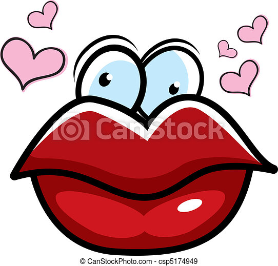 cartoon lips big cartoon red lips surrounded by hearts eps vectors rh canstockphoto com Sexy Lips Clip Art Blowing Kiss Lip Clip Arts