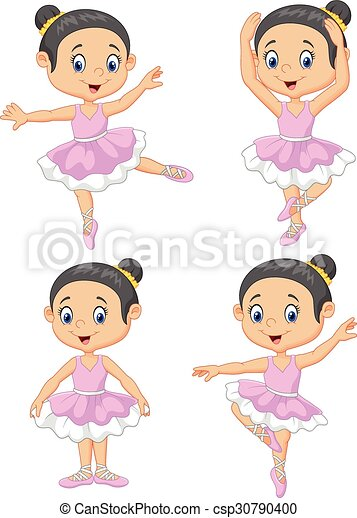 Vector Illustration Of Cartoon Little Ballet Dancer Collection Set