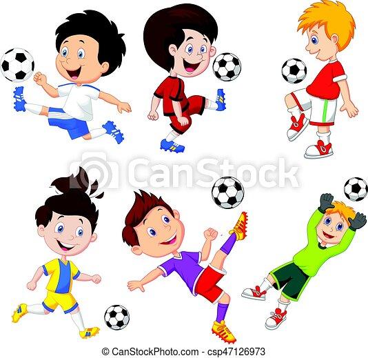 Cartoon Little Boy Playing Football