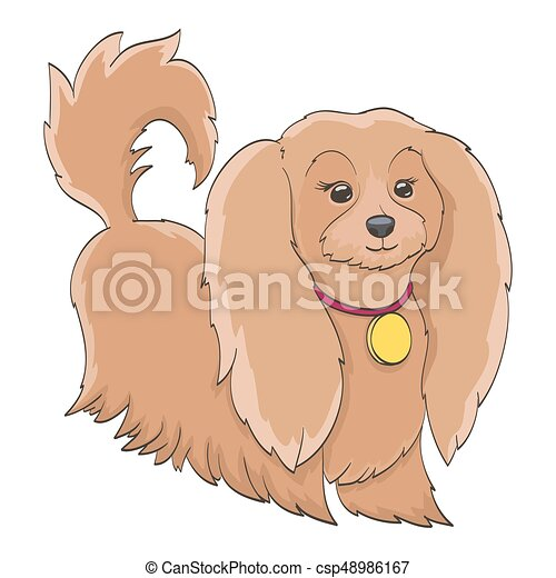 cartoon little dog isolated on white. funny furry pet - csp48986167