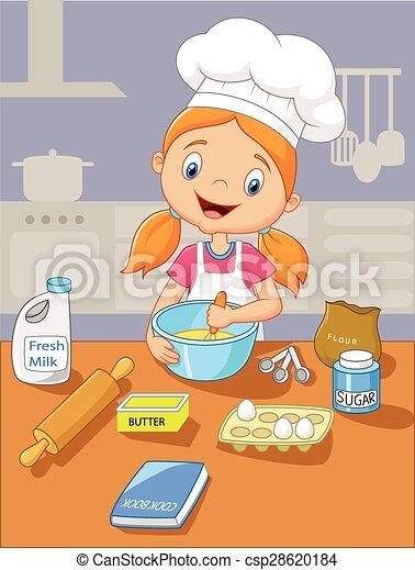 Cartoon little girl baking - csp28620184