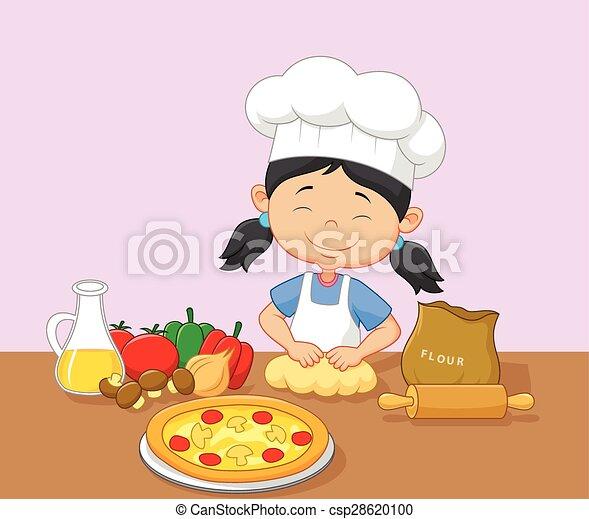 Cartoon little girl baking - csp28620100