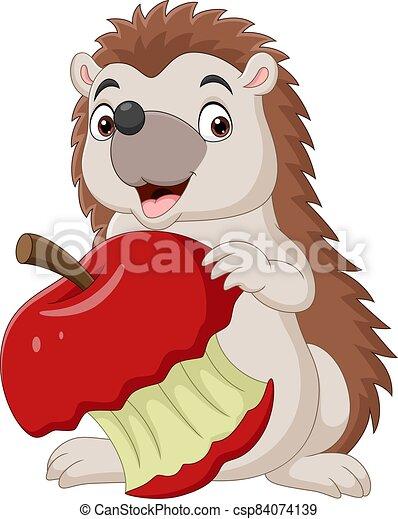Cartoon little hedgehog holding bitten red apple - csp84074139