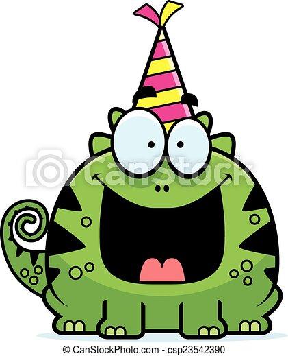Cartoon Lizard Birthday Party - csp23542390