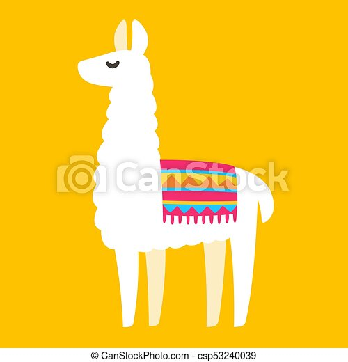 cute cartoon llama drawing on bright background, simple vectors