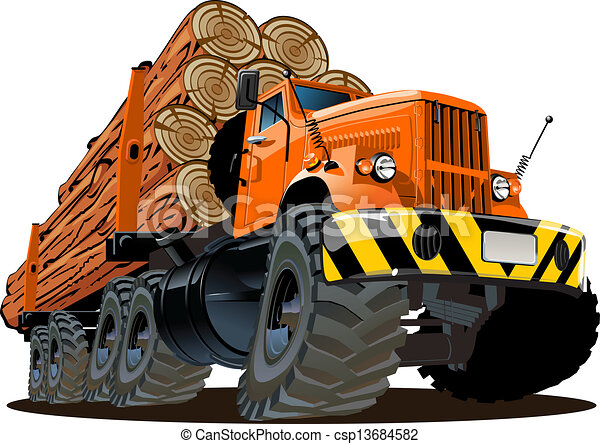 Cartoon logging truck - csp13684582