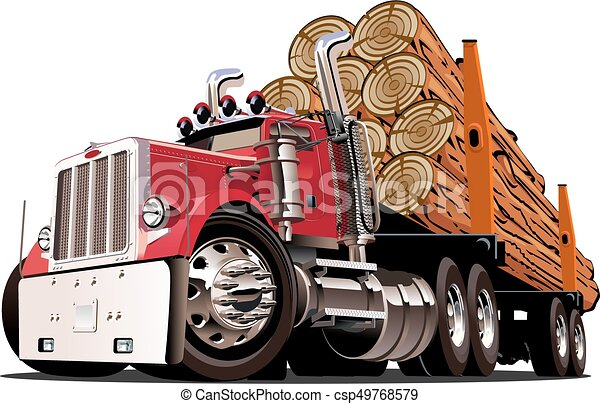 Cartoon logging truck - csp49768579