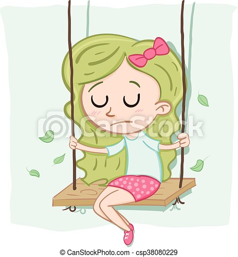 Cartoon lonely girl sitting alone on the swing vector - Cartoon girl sitting alone ...