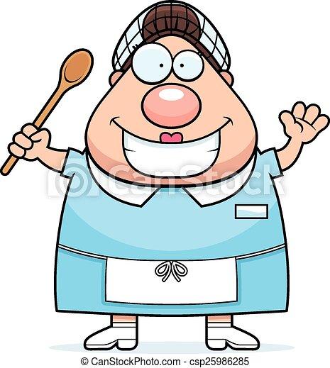 Cartoon Lunch Lady Waving - csp25986285