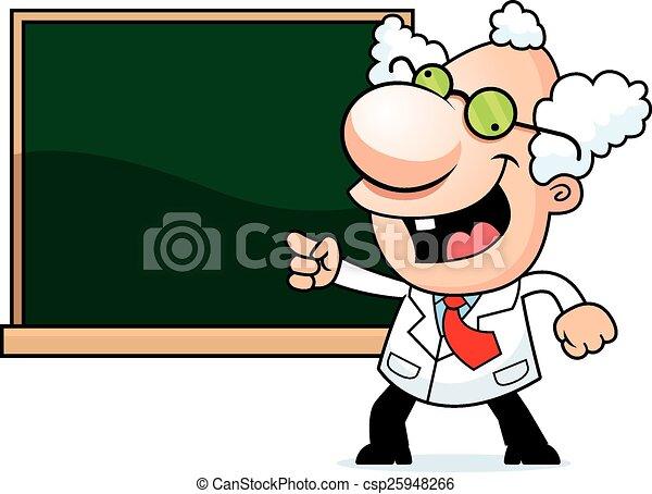 Cartoon Mad Scientist Chalkboard - csp25948266