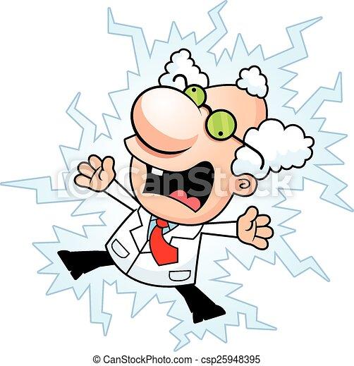 Cartoon Mad Scientist Electrocuted - csp25948395