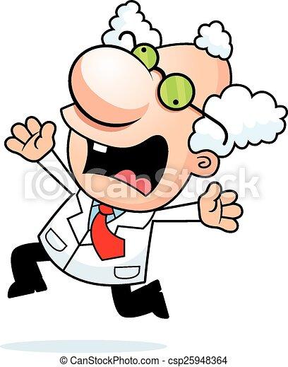 Cartoon Mad Scientist Panicking - csp25948364