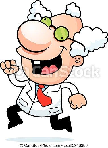 Cartoon Mad Scientist Running - csp25948380