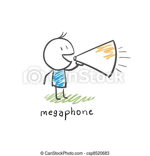 Cartoon man and loudhailer - csp8520683