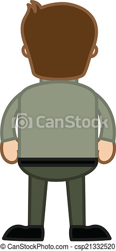 cartoon man back side portrait cartoon man standing back side pose rh canstockphoto com back clipping lead climbing back clip dog harness