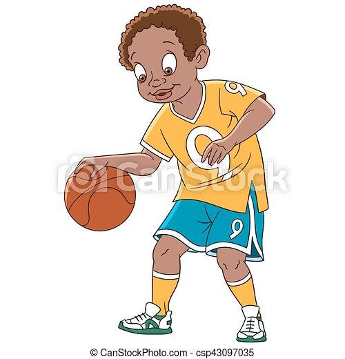 cartoon man basketball player - csp43097035