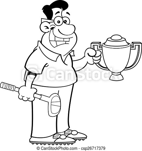 Cartoon Man Holding A Trophy Black And White Illustration Of A Man Holding A Trophy And A Golf Club