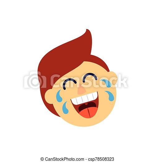 cartoon man laughing, flat style icon - csp78508323