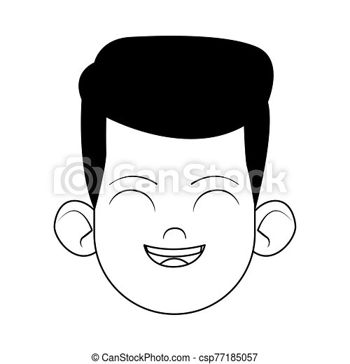 cartoon man laughing icon, flat design - csp77185057