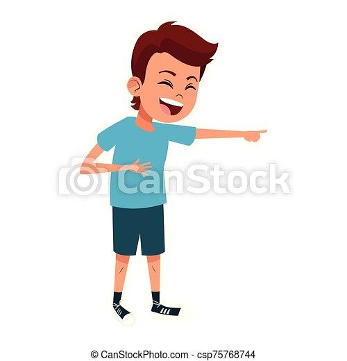 cartoon man laughing icon, flat design - csp75768744