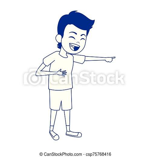 cartoon man laughing icon, flat design - csp75768416