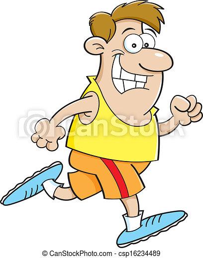 Cartoon man running - csp16234489
