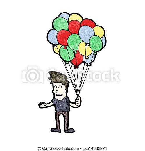 Cartoon man selling balloons