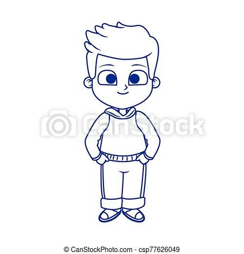 cartoon man standing icon, flat design - csp77626049