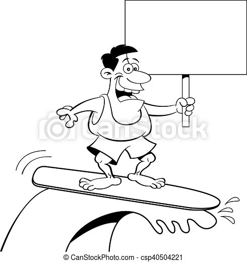 cartoon man surfing while holding a sign black and white vector rh canstockphoto com