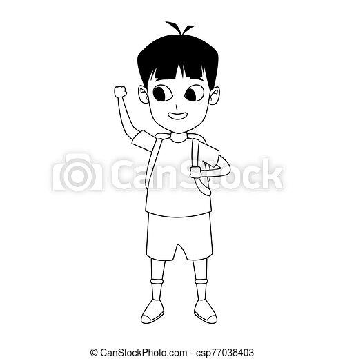 Cartoon man waving icon, flat design - csp77038403
